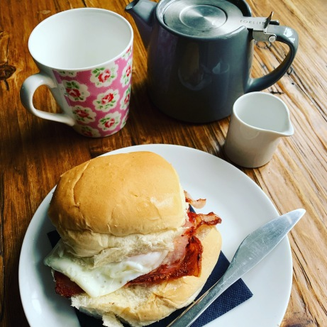 Bacon and Egg Butty with Tea